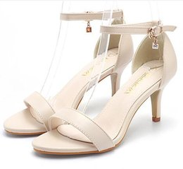 Wholesale Wedding 7cm Heels - Women High Heels Sandals T-Stage Classic Dancing Heeled 7cm Peep toe Buckle trap Sandals Sexy Stiletto Party Wedding Shoes Footwear 34-40