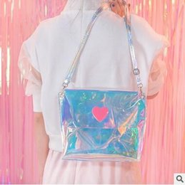 Wholesale Hot Ladys - Hot Selling Ladys Laser Shoulder Bag PVC Beach Bags Waterproof Jelly Cross Body Women Girls Cute Small Shoulder Bags Free Shipping
