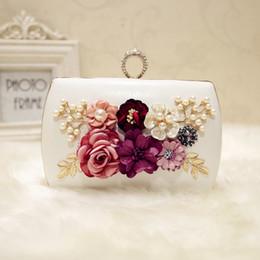 Wholesale Banquet Bags - 2017 New Fashion Ladies Bag Flowers Handle Banquet Package Chain Mini Square Bag Shoulder Messenger Bag