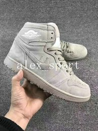 Wholesale I Shoes Boots - [With Box] Air Retro 1 High Grey Suede Mens Basketball Shoes Wholesale Retro 1 I Wolf Grey GS Boots Suede Shoes Sneakers 7-13