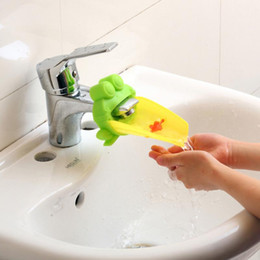 Wholesale Hand Wash Faucet - shipping Cute Frog Bathroom Sink Faucet Water Chute Extender Children Kids Washing Hands convenient for baby Washing Helper