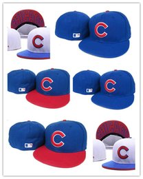 Wholesale Newest Cheap fashion style Flat Visor Chicago Cubs Baseball Fitted Hats Sport Full Closed Caps Bones Red C logo Blue Color