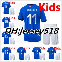 Wholesale Grey White Boys Shirt - 2018 Italy kids kits soccer Jersey 17-18 WC national team CANDREVA CHIELLINI EL SHAARAWY BONUCCI INSIGNE IMMOBILE Children FOOTBALL SHIRTS