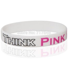 Wholesale Silicone Breast Cancer Bracelets Wholesale - Wholesale- 300pcs Silkscreen printed Think Pink Breast Cancer wristband silicone bracelets free shipping by FEDEX express