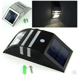 Wholesale Black Flood Light Bulb - Solar Powered Motion PIR Motion Sensor Security Wall Flood Path Light 2 LED Bulb Outdoor Yard Wall Lamp Garden Silver Black