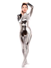 Metallische strumpfhosen online-Silber Shiny Metallic Zentai Catsuit Heißer Verkauf Sexy Enge Zweite Haut Anzug Halloween Party Cosplay Zentai Kostüm