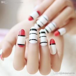 Wholesale Fake Nails Rounded - Wholesale-Pre-glued nails Nail Art 24 pcs false nail with black red white stripes fake fingernails acrylic nail art design round long