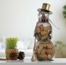 Wholesale craft christmas ornaments - Christmas Snowman Cork Container Handcrafts Home Decoration Practical Crafts Christmas Gift Xmas Ornaments Decorations
