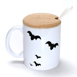Wholesale Stocking Groups - A group of bats Mug Coffee Milk Ceramic Cup Creative DIY Gifts Mugs 11oz With Bamboo cover lid Spoon S071
