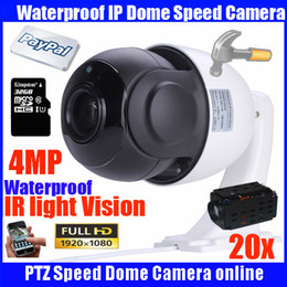Wholesale Ip Cameras Wired - 4 MP 4 inch Mini Size Network Onvif PTZ IP speed dome 20X zoom ptz ip camera with 32GB TF card