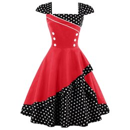 Wholesale Century Length - Summer dress 2017 cute pinup vintage retro 18th century Elegant Women irregular Polka dot cotton short sleeve party ball gown dresses robe