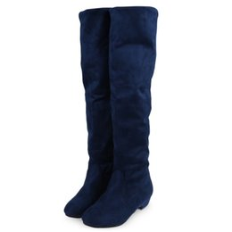 Wholesale Wholesale Flat Heeled Boots - New Retro Causal Women Knee-High Boots Pure Color Round Toe Ladies Suede Knee Flat Heel Boots Spring Fall Lady Long Boots+B