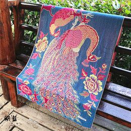 Wholesale Cotton Scarves China - made in china women's cape cloak scarf chinese style national style scarfs warm multi-function wool sunscreen flower animal print