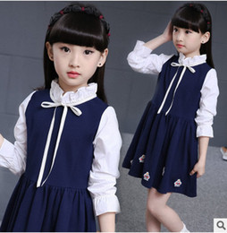Wholesale Tying Stand - Big girls princess dresses children Preppy style long sleeve falbala stand collar dress kids cotton bows tie dress 2017 new clothes G0297
