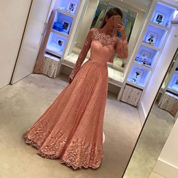 Wholesale Two Piece Dresses Fast Shipping - Appliques Newest Long Sleeves Lace Evening Gowns Cheap A-Line 2017 Formal Prom Dresses vestidos de Noiva Fast Shipping