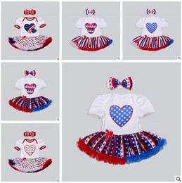 Wholesale Black Independence Day - 4th of July Newborn Romper Headbands American Independence Day Festival Jumpsuits Girl Dresses Lace Jumpsuit Rompers New Baby Girls Clothes