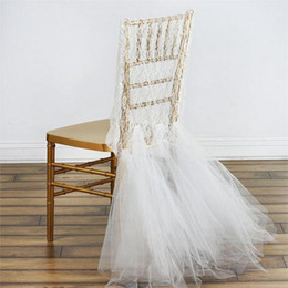 Wholesale Tulle Chair Covers - Romantic Lace Wedding Chair Cover With Tulle Ruffles Groom And Bride Chair Covers Custom Made Chiavari Chair Cover