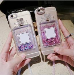 Wholesale Pink Crystal Perfume - For Iphone 6 6S 6pllus 6splus 7 7plus Case Luxury Perfume Rhinestones Quicksand Free Crystal lanyard