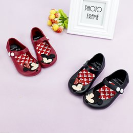 Wholesale Soft Leather Kids Shoes - Kids Girl Mickey Minnie Sandals Toddler Baby Kids Beach Footwear Candy Smell Mini Melissa Shoes 3 Color Retail