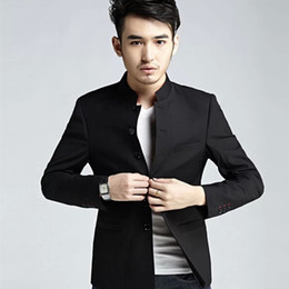 Wholesale Chinese Men Blazer - Wholesale- Men's Slim fit Stand Collar Blazers Black Quality Chinese Style Suit Jackets for Men Chinese Tunic Suit Men FS-106