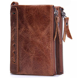 Wholesale Men S Leather Wallet Pockets - 2017 New Men 's Wallets Leather Short Clips Handbag Wallets Cowboy Leather Double Zipper Wallet Free Shipping