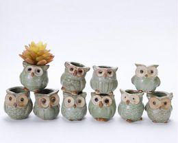 2019 небольшие садовые офисы Eco FriendlyCartoon Owl -образный Горшок для суккулентов мякоти растений Flowerpot 5шт / Набор керамических Минимаркет Дом / сад / Декор офиса скидка небольшие садовые офисы