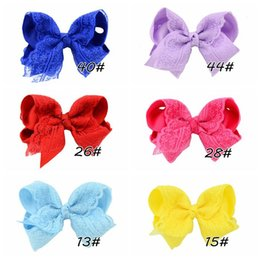Wholesale Grosgrain Bows Hair Flowers - Kids hair pin cute Baby grosgrain ribbon bow hair clip children lace flower photography props baby girl headdress accessories T4472