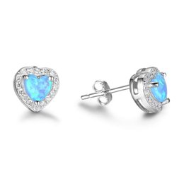 Wholesale Opal Earrings Silver 925 - 5pcs Lot 925 Sterling Silver Earrings Blue Opal Stud Earrings Simulated Diamond Stud Earrings For Women