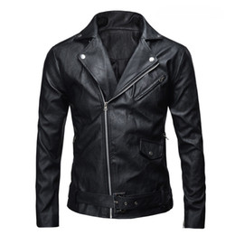 Wholesale Motorcycles Leather Jacket - Wholesale- 2016 PU Leather Jacket Men Basic Coat Wool Leather Men's Jackets Slim suede Leather Motorcycle Jackets Trench Parkas Plus Size