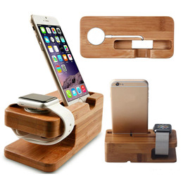 Wholesale Black Docking Station - Natural Bamboo Phone Holder For Apple Watch 2 Charger Station Dock 2 in 1 Phone Stand for iPhone X 8 6 6s 7 Plus