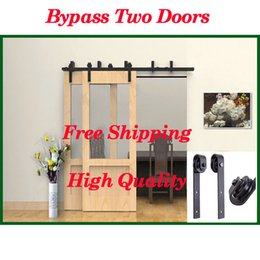 Wholesale 5 FT Bypass Double Sliding Barn Door Hardware Track Kit Double Door Closet Interior For your Home
