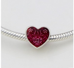Wholesale colour necklace - Fits Pandora Bracelets 4 Colours 30pc Red Heart Enamel Silver Charm Bead Loose Beads For Wholesale Diy European Sterling Necklace Jewelry