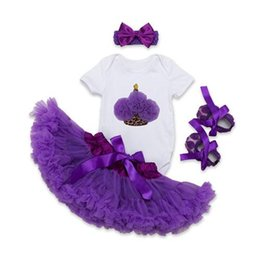 Wholesale Pettiskirt Sets Wholesalers - Baby Girls Lace Rompers Sets 2017 Newborn Jumpsuit+Ballet Skirt+Headband+Shoes 4pcs Bodysuit 0-2Y Infant Pettiskirt Children Outfits Clothes