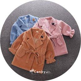 Wholesale Tweed Jacket Wholesalers - Children Autumn Style Kids Girl Bowknot Coat Baby Child Girl Fashion Jackets Outwear Coats Childrne's Gilr's Fur Coat 5 Pcs Lot B