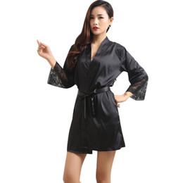 Женские одежды онлайн-Wholesale- Mid-sleeve sexy women nightwear robes plus size M L XL XXL lace real silk female bathrobes 92