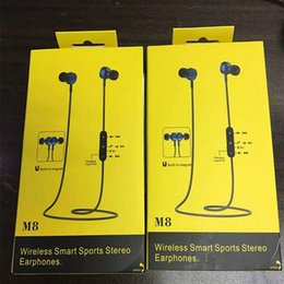 Wholesale Hi Ear - Original New M8 magnetic Wireless Bluetooth 4.1 Metal in-Ear Earphone HI-FI Stereo Surround Bass with Microphone Retail Package