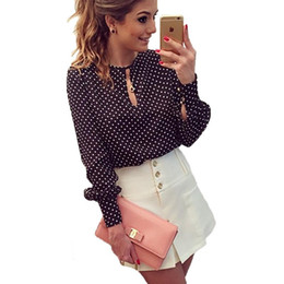 Wholesale Polka Dot Blouse Women Chiffon - 2017 Plus Size Women Shirt Tops Spring Sexy Chiffon Blouses Long Sleeve Dot Black Navy Blue O-neck Puff Sleeve Party Work Blouse
