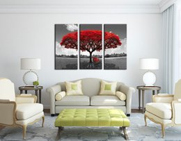 Wholesale Tree Art Paint - Abstract Canvas Art Red Tree Print on Canvas 3 Piece Painting Stretched and Framed Ready to hang for Living 16x32inchx3p