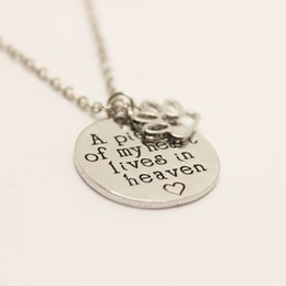 Wholesale Pet Stamps - 12cs lot A Piece of My Heart Lives In Heaven Necklace Hand Stamped Necklace Dog Cat Pet Memorial Jewelry Pet Loss Remembrance