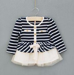 Wholesale Baby Tulle Coat - Children girls Stripe knitting coat Joining together baby dress coat wholesale