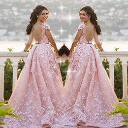Wholesale Elie Saab Lace Evening Dresses - Elie Saab 2017 Pink Detachable Train Evening Dresses Lace Appliques Sheer Jewel Neck Short Sleeve Backless Formal Prom Dresses Custom Made