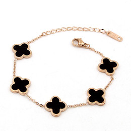 Wholesale Top Charm Bracelet Brands - Top brand New arrival Top brass clovers charm bracelet with flower in 5pcs nature stone shell women and man wedding gift jewelry