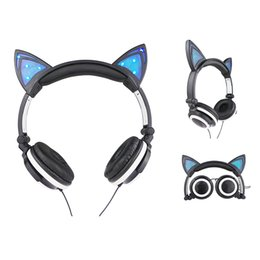 Wholesale Headband Padded Black - Cat Ear Headphones Foldable Flashing Glowing Cosply Headsets Gaming Headband Earphone with LED Light For Cell Phone PC Laptop Computer Pad