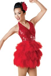 Wholesale Ballroom Dancing Accessories - women Polyester Ladies Ballroom Latin Dance Dress Latin dance stage costume accessories sequined feathers A-0671