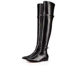 Wholesale Tall Boots For Women - Comfortable Over-Knee-Boots Winter Fashion Red Bottom Birgit Flat For Women Luxurious Buckle Strap Genuine Leather Tall Boots 35-42