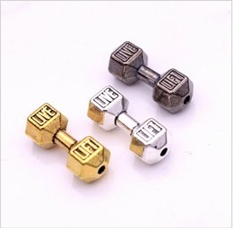 Wholesale Silver Beaded Spacer - 100pcs 2color Barbell Dumbbell Spacer Beads Charms Silver gold Plated for Diy Beaded Fitness Bracelets Handmade Jewelry Making 8*20mm