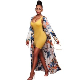 Wholesale Cover Up Swimsuit Shirt Dresses - Summer Women Blouses fashion long-sleeved cardigan cape coat Ms printing phnom penh swimsuit Cover Ups Lady Sexy shirts tops Beach dress