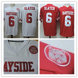 Wholesale Mario Football - cheap Mens Saved By The Bell Movie Mario Lopez #6 AC Slater Red White Stitched The film Football Jerseys Size S-3XL