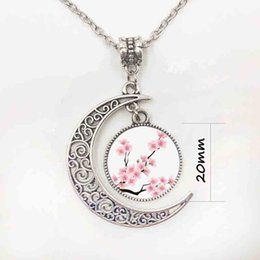 Wholesale Heart Motifs - fashion trendy Rose flower motif pink moon necklaces and pendants glass cabochon statement necklace women jewelry accessoriesP11