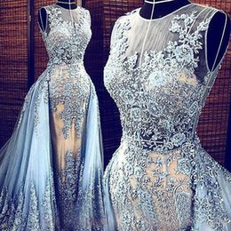Wholesale Dress Red Detachable - Elie Saab Evening Gowns Lace Applique Detachable Train Celebrity Party Prom Evening Dresses With Pearls Light Blue Red Carpet Dress